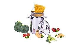 Culinario Pastatopf/Gemüsetopf aus Edelstahl, Ø 16 x 21 cm, mit Glasdeckel und Einsatzkorb, rostfrei, Kochtopf, Spaghettitopf, Spargeltopf, Würstchentopf, by Karl Krüger