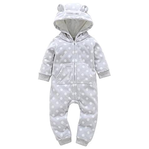 VENMO Dot Print Cute Unisex Baby Romper Long Sleeve Hooded Jumpsuit Playsuit Winter Warm Zip Infant Onesie Layette Pajamas For 6-24Months Newborn (18M,