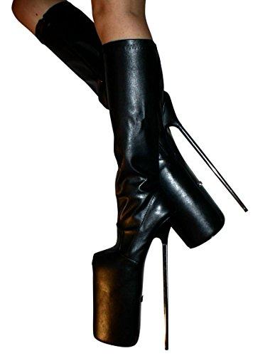 Erogance 30cm Extrem Plateau High Heels Kunstleder Kniestiefel, Bottes pour Femme similicuir