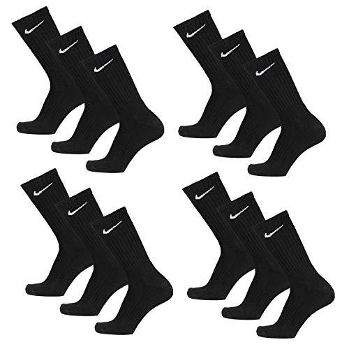 12 Paar NIKE Socken in Größen 34-38 bis 46-50 schwarz & weiß (Schwarz, 38-42 (M))