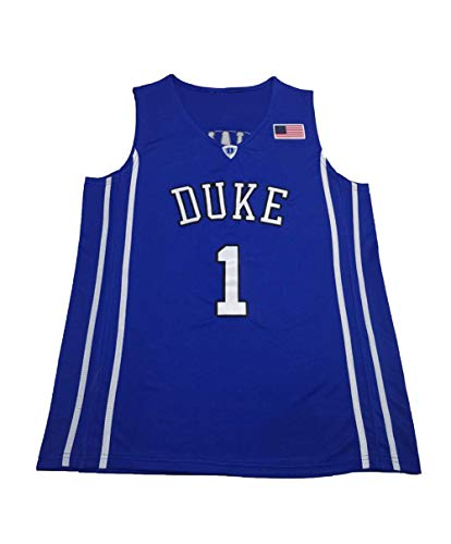 73HA73 Basketball Spieltrikots für Herren NBA Duke University 1# Zion Williamson Bestickte Swingman-Shirts Ärmellose Sweatwear Jerseys,Blue,L(175-180cm)