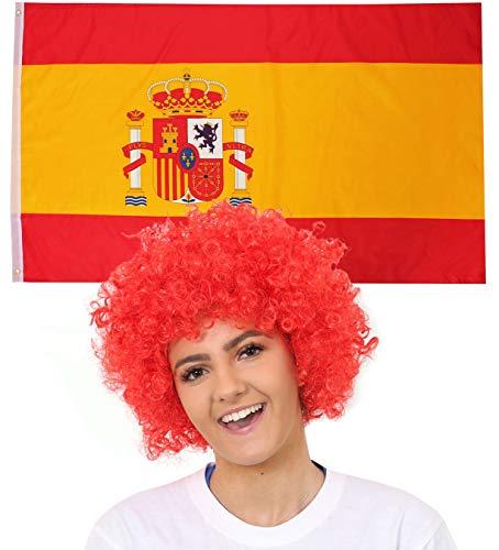 ILOVEFANCYDRESS Spanien Dekoration KOSTÜM VERKLEIDUNG =MIT+OHNE ZUBEHÖR=Fussball Sport LÄNDER ABMESSUNGEN VON 152cmX91cm=Flagge +ROTE Afro ()