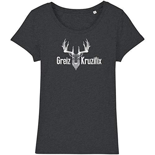 Bayrisches Damen T-Shirt Greiz Kruzifix - Bio Baumwolle XS-XXL Hirsch-Kopf Oktoberfest Wiesn Frauen Österreich Bedruckt Witzig DarkHea-Weiss S
