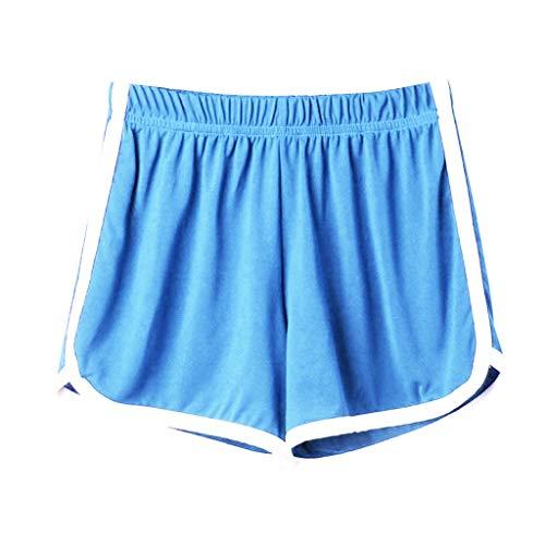 KUDICO Damen Shorts Lippendruck Liebesdruck Hot Pants Schlafanzughose Aktiv Yoga Running Gym Beiläufige Elastische Sport Hosen (Blau, Large)