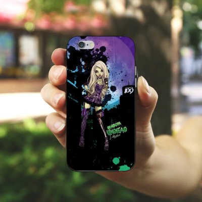 Apple iPhone X Silikon Hülle Case Schutzhülle Art Mädchen Comic Silikon Case schwarz / weiß