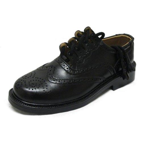 Tartanista - Herren Ghillie-Kiltschuhe im Budapester-Stil - aus Leder - ideal für Festliche Anlässe - Schwarz - 43-44 EU