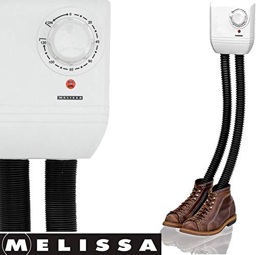 Melissa 16540009 Schuhtrockner elektrisch, Schuhwärmer für Stiefel, Gummistiefel und Handschuhe, Trockner für Wanderschuhe oder auch Skischuhe, Heizung mit Gebläse und Zeitschaltuhr für 1 Paar Schuhe -