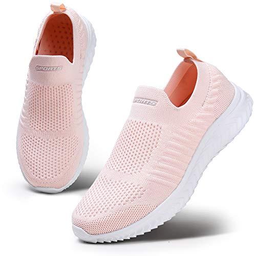 HKR Damen Atmungsaktiver Trainer Bequeme Sneaker Sportschuhe Leichte Wanderschuhe Mesh Laufschuhe Pink 39 EU