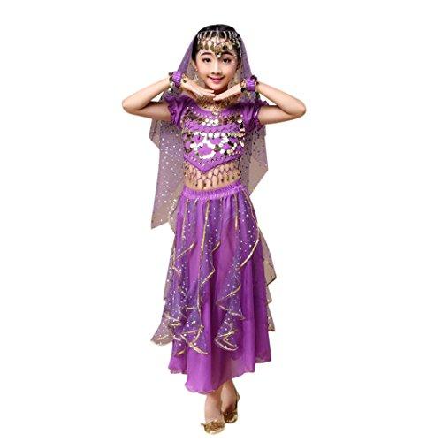 z Kleid Mädchens Chiffon Pailletten Tanzkleidung Indien Mädche Tanzkleidung Karneval Kostüme Komplet Tanz Tuch Chiffon Top + Rock Schleier Hüfttuch (S, Lila) (Cinderella-kostüm Für Kleinkinder)