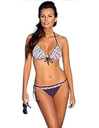 Verano hübscher zweiteiliger Badeanzug Bikini mit Push-Up-BH und Rüsche in verschiedenen Farbkombinationen