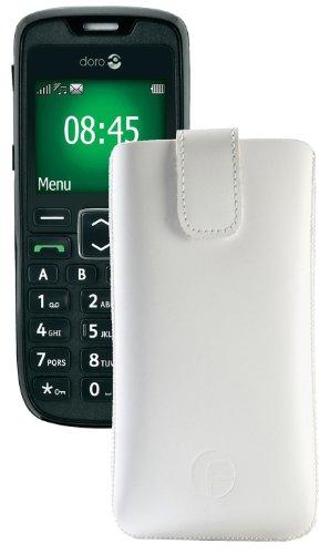 Original Favory Etui Tasche für / Doro PhoneEasy 508 / Leder Etui Handytasche Ledertasche Schutzhülle Case Hülle Lasche mit Rückzugfunktion* in Weiss