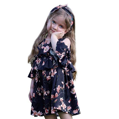 Kleinkind Kid Baby Girl Schulterfrei Floral Bedruckte Party Kleider Princess Dress Sommerkleider ()