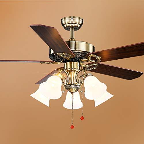QIULAO Deckenventilator-Licht, 52in nostalgischer industrieller Wind-Deckenventilator mit Licht / 5 Ventilatorflügeln 5 * E27, Fernbedienung mit umgekehrtem Inverter-Ventilator-Leuchter/energiespare -
