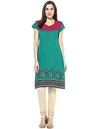 Mytri Women's Green Printed South Cotton Kurta