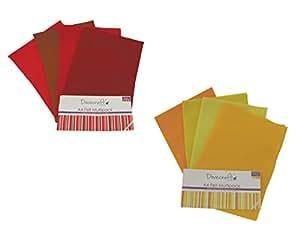 Dovecraft Panneaux de feutre A4 feuilles jaunes et rouges - 2 Etuis de 8 feuilles-CR Trading
