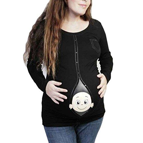 Mengonee Schwangere Weiche Baumwolle Oansatz Lustige Baby Gesicht Kleidung Frauen Mutterschaft Langarm Casual Schöne T-Shirts Tops