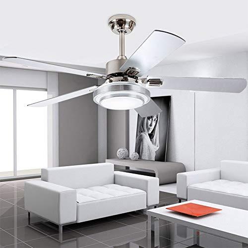 """YZPFSD 42-Zoll-Moderne LED-Deckenventilator 5 Klingen aus rostfreiem Stahl und Fernbedienung 3-Light Änderungen Indoor Mute Energiesparventilator Kronleuchter for Hauptdekoration (Größe : 52\"""")"""