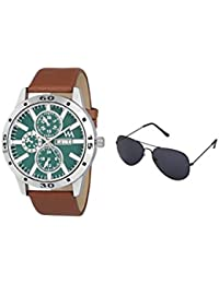 Watch Me Gift Combo Set Of Sunglasses And Day Date Series Green Dial Analog Brown Leather Strap Quartz Watch For...