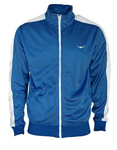 ROCK-IT Herren Track Jacket - stylische und hochwertige retro Style Trainingsjacke - Tracktop - Sweater Jacke - in den Farben Rot Weiß Grün Braun Schwarz Grau Blau - Größen S-XXXL Blau/Weiß
