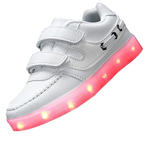 [Présents:petite serviette]JUNGLEST® Little Boy Fille Kid recharge USB LED Light Up Glow Souliers Cl Blanc