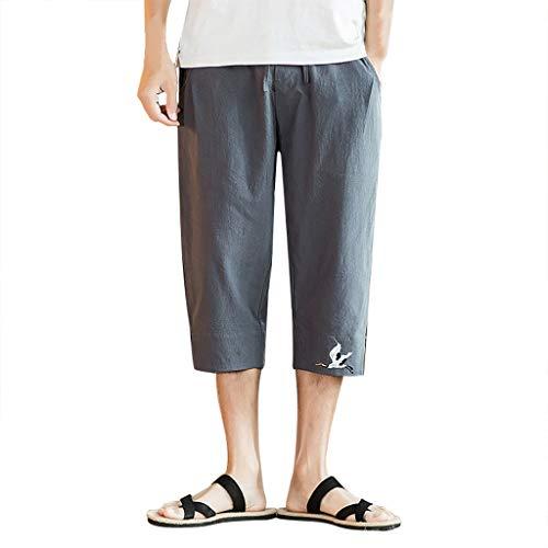 Zolimx Sommerliche Retro-Shorts für Herren aus Baumwolle und Leinen, Herren Sommer Printing Freizeit Overalls Mode Multi-Pocket-Hosen