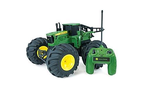 """TOMY Traktor """"RC John Deere Monster Treads"""" in grün - robuster und flexibler ferngesteuerter Traktor aus Kunststoff mit Fernbedienung - Trecker für draußen zum Spielen und Sammeln - ab 6 Jahre"""