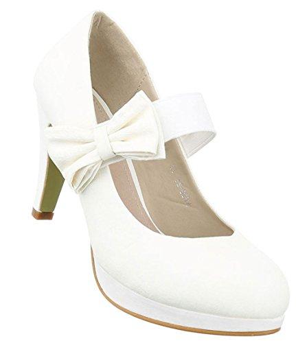 Damen Pumps Schuhe High Heels Stöckelschuhe Stiletto Plateau Elfenbein Schwarz 36 37 38 39 40 41 Creme