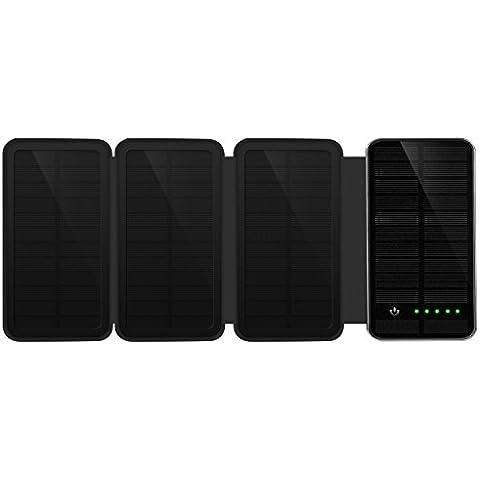 IVSO Caricabatteria Solare Portatile 10000mAh, impermeabile batteria esterna solare con Dual USB esterna per Iphone 6s / iphone 6 / samsung, smartphones, iPad e altri tablet PC