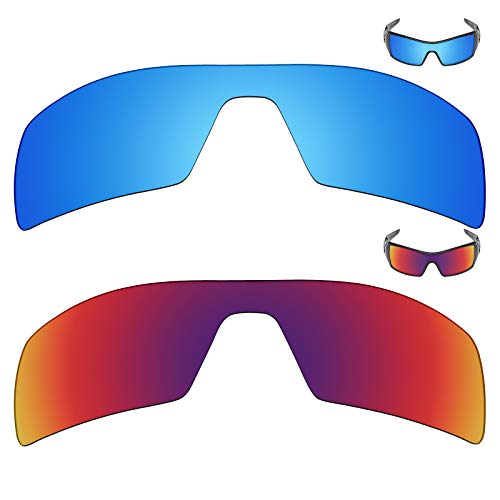 MRY 2Paar Polarisierte Ersatz Gläser für Oakley Oil Rig Sonnenbrille-Rich Option Farben, Ice Blue & Midnight Sun