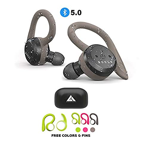 Boult Audio AirBass Tru5ive True Wireless Bluetooth 5.0 Earphones with mic, Charging Case Auto Pairing and Dual Connectivity Headset IPX7 Waterproof Deep Bass and in 3 Color Earloops (Gray,Green,Pink)