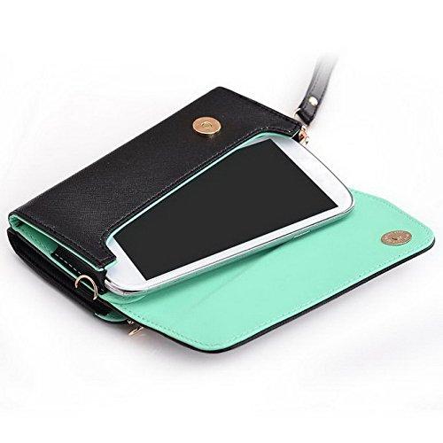 Kroo d'embrayage portefeuille avec dragonne et sangle bandoulière pour Motorola Moto G (2014)/E (2015) Multicolore - Black and Green Multicolore - Black and Green