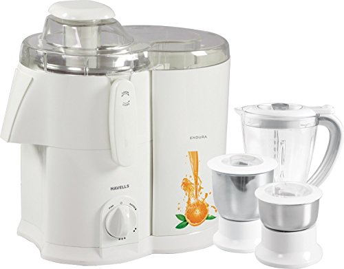 Havells Endura GHFJMAHW050 500-Watt Juicer Mixer Grinder with 3 Jars (White)