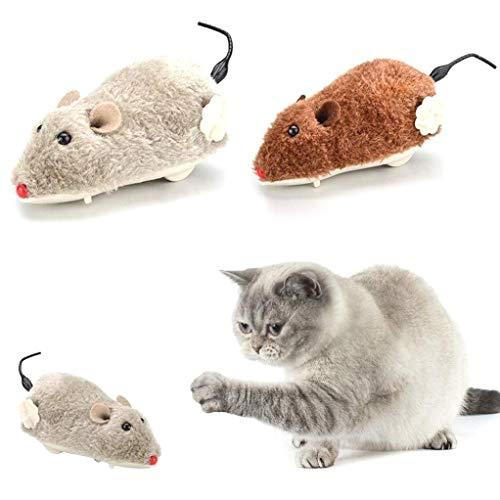 TINGB Giocattolo di Peluche per Gatti, Mouse per Orologio per Gatti Giocattoli di Peluche a Carica Giocattolo per Topi Gioco e Caccia al Gatto Gattino, Colore Casuale Resistente e Pratico