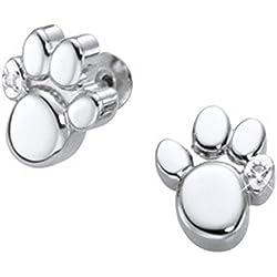 Imán Pendientes patas diseño de perro/gato/oso de peluche con cristal de Swarovski 1par Energetix 4you 1387P Plain plata Magnetix 2250Bestseller