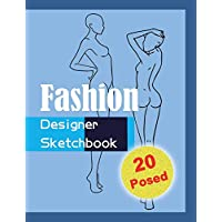 Fashion Designer Sketchbook - Blue: 20 Figure sketch different posed template will easily create your fashion styles