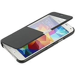 MTRONX pour Coque Samsung Galaxy S5 Mini, Case Cover Etui Housse Poche Cas Couverture Fenetre Vue Ultra Slim Folio Flip Magnetic PU Cuir Serge pour Samsung Galaxy S5 Mini - Noir(MW-BK)