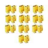 VUNIVERSUM 10x Paar (20 Stück) Original Premium XT60 Goldstecker Stecker Buchse Male Female 2Pin Verpolsicher Hochstromstecker für Lipo Akku RC 60A Gelb von Mr. Stecker Modellbau®