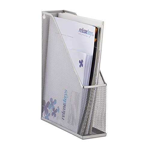 Relaxdays Stehsammler A4 Metallgeflecht, Stehordner, bis C4, Archivbox, Ösen für Wandmontage, Dokumentenablage, silber