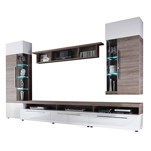"Firstloft A0200-501-0000 Wohnwand ""Cosmos"", Sonoma Eiche Trüffel, modernes Design, 330 x 210 x 52 cm, weiß hochglanz - 2"
