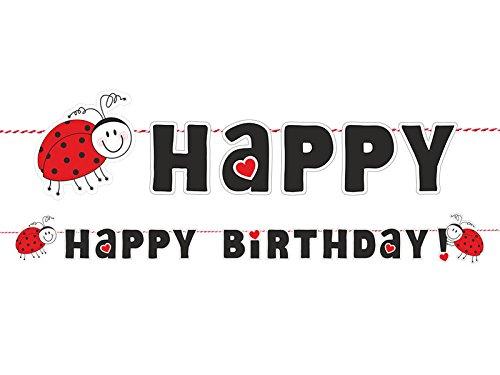 cama24com Marienkäfer Ladybug Happy Birthday Girlande 1,8m Kindergeburtstag Banner Partydeko mit Palandi® Sticker