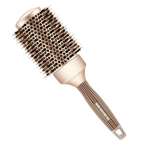 BANGMENG Round Barrel Antistatische Haarbürste mit Wildschwein Borsten, Nano Thermal Ceramic Ionic Tech Für zusätzlichen Glanz | Schützt das Haar, verbessert die Textur, Curling(2inch)