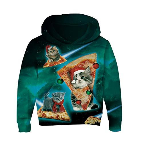 RAISEVERN Unisex Kids Boy Girl 3D Raum Galaxy Hoodie Pizza Katzen Fleece Sweatshirts Taschen Pullover Hoodies