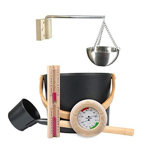 FORYOURS Sauna Zubehör Set Sauna Sanduhr Geschenkset, 7L Saunakübel Set Mit Langem Griff/Löffel/Sanduhr/Thermometer/Hygrometer/Sauna Aromatherapieöl Cup Kit