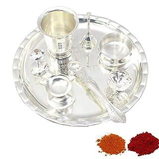 Amba Handicraft Indische Traditionelle Deko Pooja Thali, schöne Lakshmi Festival ethnische Geschenk für Sie/Kankavati / Diwali/indisches Kunsthandwerk/Zuhause / Tempel/Büro / Hochzeit Geschenk GS03