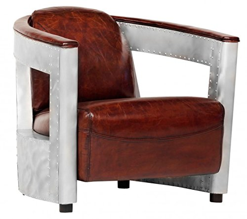 Casa Padrino leather armchair Art Deco Chrome / Black - club chairs - Lounge Chair (Leather Club Chair)