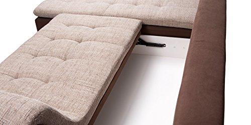 PRATO Ecksofa mit Schlaffunktion und Bettkasten in L-Form