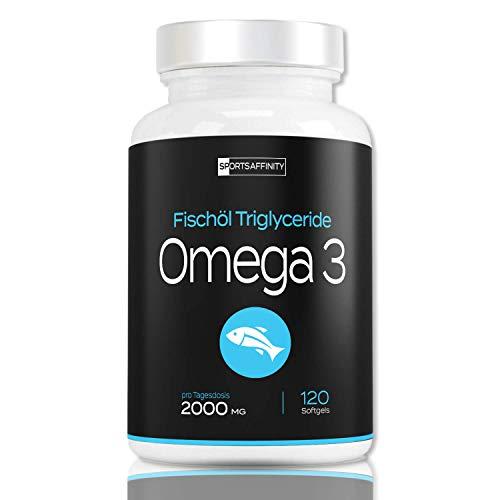 QUALITÄTSSIEGER 2018 Omega 3 Fischöl [Hochdosiert 2000 mg] » 800mg EPA und 600mg DHA pro Tagesdosis « Omega-3 Fischölkapseln als essentielle Omega-3-Fettsäure - Omega3 Fish Oil/Öl - 120 Kapseln