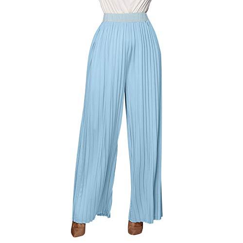 semen Damen Hose Breite Bein Fashion Falten Design Elastische Taille Leicht Bequem Bodenlang Marlenehose Basic Streetwear Damenhose Maxi Lang (Slinky Schauen)