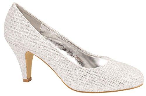 R's Damen Pumps | Bequeme High Heels Glitzer | Hochzeit Stiletto 9373-E22108-Silber-40
