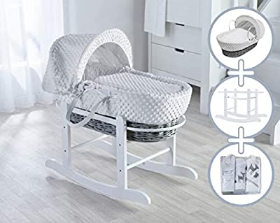 White Dimple Moses Basket, Deluxe Rocking Stand and Woodland Tales Starter Set Bundle